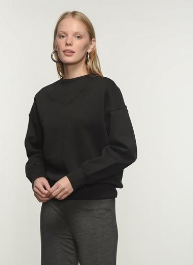 People By Fabrika Kadın Dik Yaka  Sweatshirt PFKAW20SW0009 Siyah